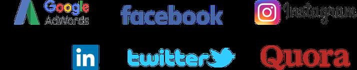 Google AdWords, Facebook, Instagram, Twitter, LinkedIn, Quora